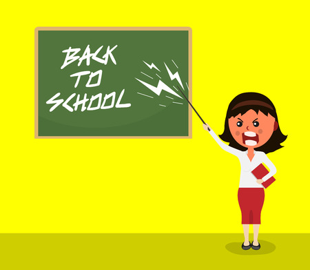 angry teacher with anger and scream standing with pointer in front of blackboard on which is written the greeting back to school