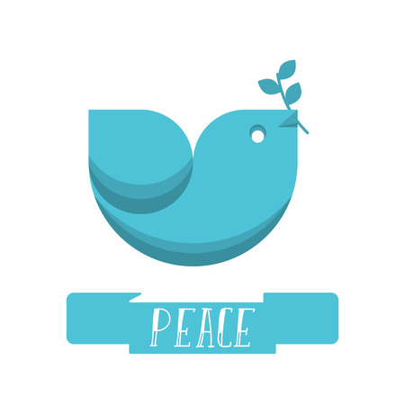 Peace dove logo with olive branch for International Peace Day poster, banner, postcard