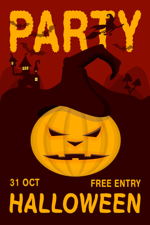 Happy Halloween colorful poster or banner vector template with angry pumpkin. All Hallows Eve placards