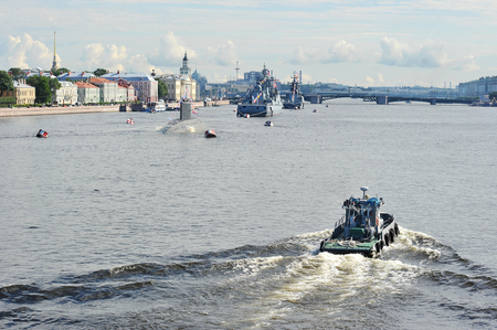 Saint Petersburg, Russia - July 22, 2017: the parade of warships on the river Neva in Saint-Petersburg Editorial