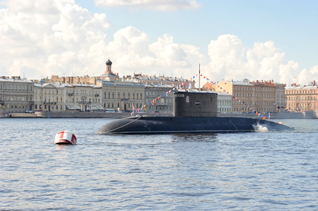 Saint Petersburg, Russia - July 22, 2017: the Submarine in the river Neva in Saint-Petersburg on marine parade. warship
