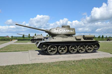 Prokhorovka, Russia - July 5, 2017: Soviet tank T-34 on Prokhorovka field after the tank battle of Kursk. The inscription on the tank - For Stalin