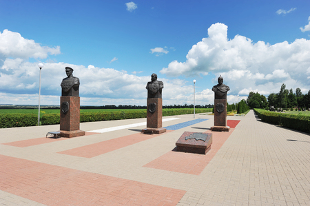 Prokhorovka, Russia - July 5, 2017: the monument to Russian military commanders on the Prokhorovka field after the tank battle of Kursk. Editorial
