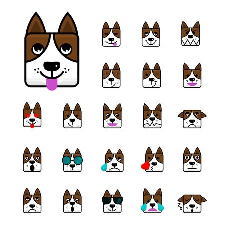 大きな茶色の犬フラット ベクトル漫画絵文字顔犬の文字のセットします。アイコンをパック。絵文字は、白い背景で隔離。ベクトルの図。