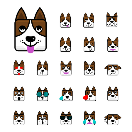 Big set of brown dog flat vector cartoon emoticon faces Character of a Dog. Icon pack. Emoji isolated on white background. Vector illustration. Иллюстрация