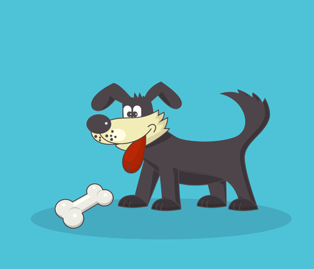 Funny brown dog with his tongue hanging out looking at yummy bone - vector image - a symbol of the Chinese year 2018