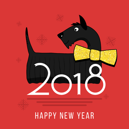 Vector Happy New Year 2018 design element with cute Scotch-Terrier dog with Golden butterfly tie. Chinese year of dog concept illustration 2018 year of dog