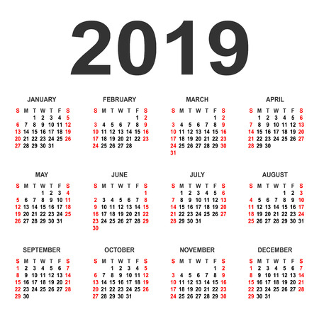 Calendar 2019 year vector design template. Simple 2019 year calendar. Vector circle calendar 2019. Week starts from Sunday and ends with Saturday. Font Arial bold sans serif.