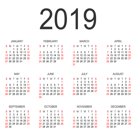 calendar 2019 year vector design template simple 2019 year calendar vector circle calendar 2019
