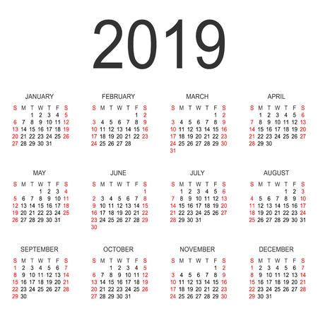 calendar 2019 year vector design template simple 2019 year calendar vector circle calendar 2019