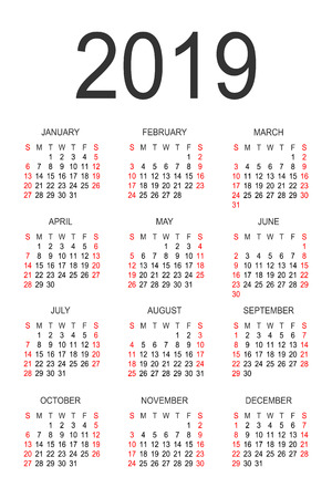 Calendar 2019 year vector design template. Simple 2019 year calendar. Vector circle calendar 2019. Week starts from Sunday and ends with Saturday. Font sans serif. Ilustração