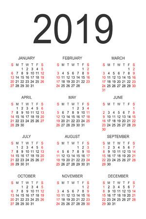 Kalender 2019 jaar vector ontwerpsjabloon. Eenvoudige jaarkalender 2019. Vectorcirkelkalender 2019. De week begint op zondag en eindigt op zaterdag. Lettertype zonder serif. Stock Illustratie
