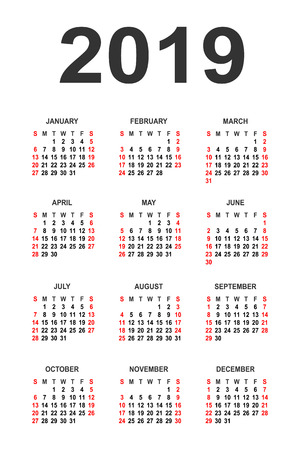 Calendar 2019 year vector design template. Simple 2019 year calendar. Vector circle calendar 2019. Week starts from Sunday and ends with Saturday. Font Arial sans serif. Illustration