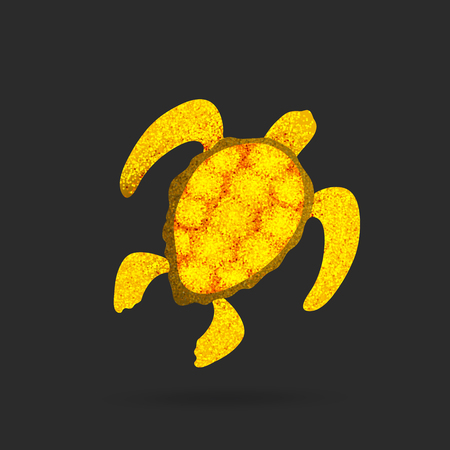golden turtle - sparkling turtle logo - vector illustration on black background