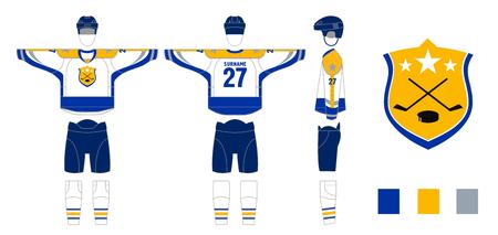 Hockey uniform pattern cutting for sewing Hockey sweater and hockey leg warmers, gaiters, hockey shorts and club emblem