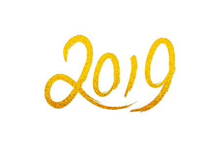 Greeting gold card design template with Chinese calligraphy 2019 New Year of the Pig Grunge number 2019 hand drawn golden lettering Vector illustration Illustration