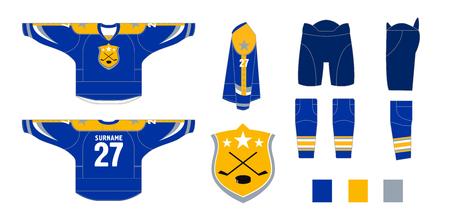 Hockey uniform - pattern cutting for sewing - Hockey sweater and hockey leg warmers, gaiters, hockey shorts and club emblem  向量圖像