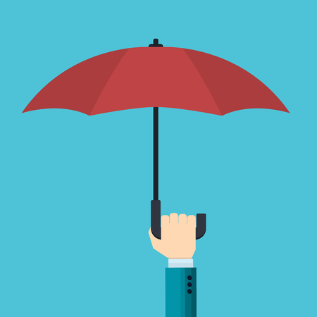 hand of businessman holds an open red umbrella from the rain - the concept of risk protection -  vector illustration in flat style