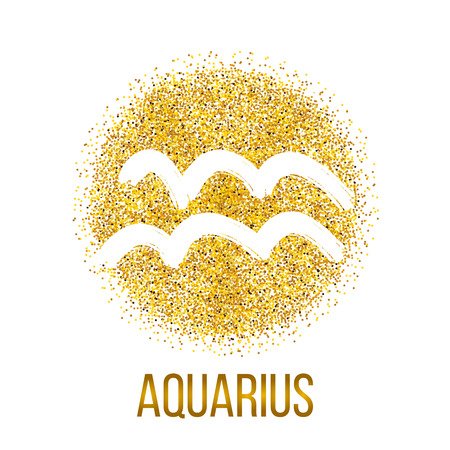 Aquarius gold glitter vector zodiac sign, hand drawn with ink brush. Vector graphics set. Illustration