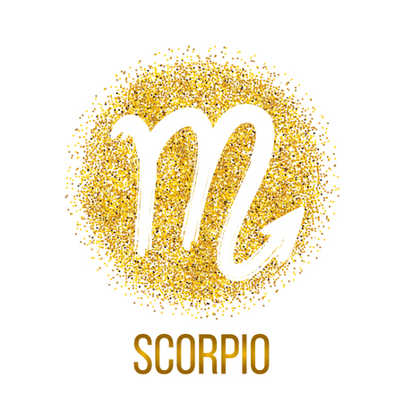 Scorpio gold glitter vector zodiac sign, hand drawn with ink brush. Vector graphics set.