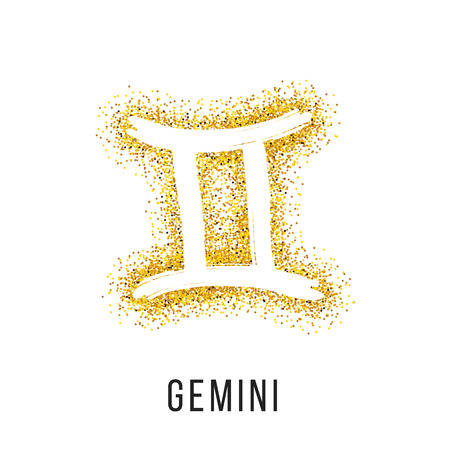 Gemini gold glitter vector zodiac sign, hand drawn with ink brush. Vector graphics set.
