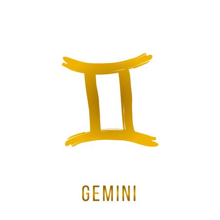 Gemini gold shine vector zodiac sign, hand drawn with ink brush. Vector graphics set.