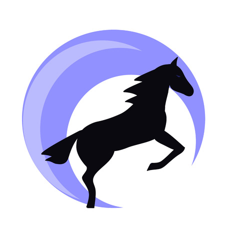 Running horse black silhouette - stand up on its hind legs. Horse logo withwith blue halo - vector illustration