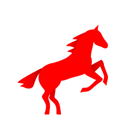 Running horse red silhouette - stand up on its hind legs. Horse logo - vector illustration