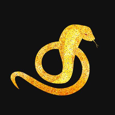 golden snake silhouette curled up in the ring. snake logo - vector illustration