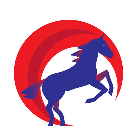 Running horse blue silhouette - stand up on its hind legs. Horse logo withwith red halo - vector illustration