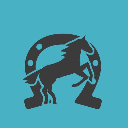 Running horse black silhouette - stand up on its hind legs. Horse logo - vector illustration Ilustração