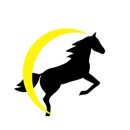 Running horse black silhouette - stand up on its hind legs. Horse logo withwith yellow halo - vector illustration Ilustração