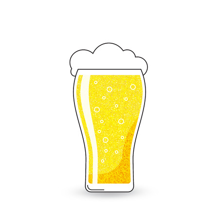 vector glass of beer with froth on white background