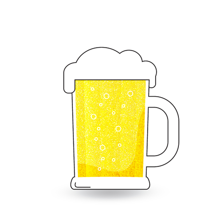 vector mug of beer  with froth on white background