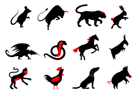 twelve chinese year lunar zodiac horoscope symbols. Zodiac china set. Silhouette animal vector illustration. Red and black color sign isolated on white background Çizim