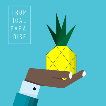 Hand of black businessman holds pineapple icon - vector illustration in flat style - concept try it out