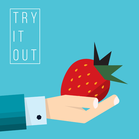 Hand of businessman holds strawberry icon - vector illustration in flat style - concept try it out
