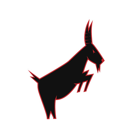 goat silhouette. black and red goat logo - vector illustration