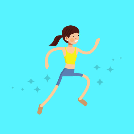 running womans sport profile. flat drawn style vector design illustrations
