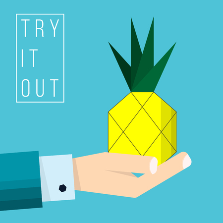 Hand of businessman holds pineapple icon - vector illustration in flat style - concept try it out