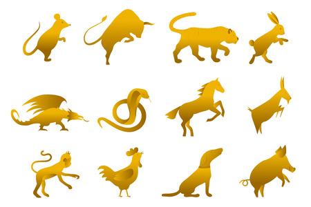 zwölf goldene chinesische Jahr-Mond-Sternzeichenhoroskopsymbole. Zodiac China Gold Set. Silhouette Tier Vektor-Illustration. Funkenendes goldenes Zeichen lokalisiert auf weißem Hintergrund