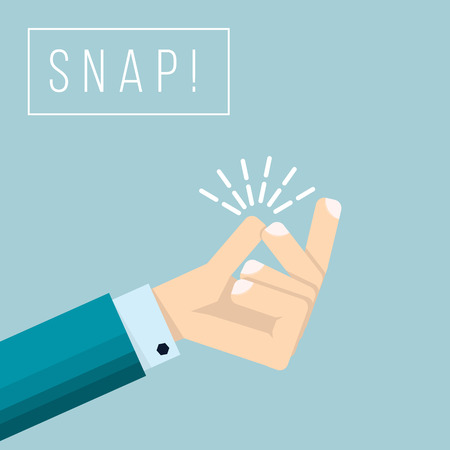 Businessman hand  with snapping finger gesture. Living easy business concept vector background. Gesture hand finger snap expression illustration Çizim