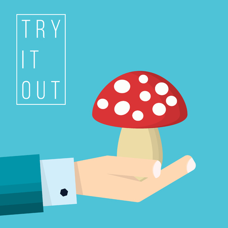 La main de l'homme d'affaires détient l'icône de champignon - illustration vectorielle dans un style plat
