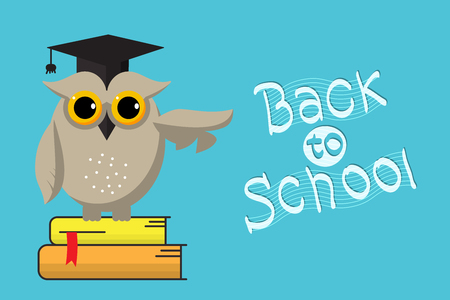 Smart owl and Back to school hand-drawn lettering text on blue  background.Vector illustration