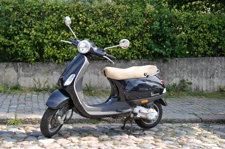 Porvoo, Finland - August 18, 2018: vintage scooter in the Parking lot in Porvoo, Finland