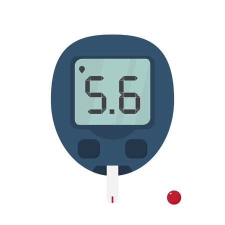 medidor de glucosa en sangre con tira reactiva y gota de sangre para analizar la glucosa en sangre. diagnóstico del concepto de diabetes