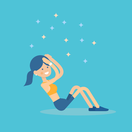 Cute smiling girl in sportswear doing sit-up exercise on abdominal crunches. Women health and fitness - vector illustration in flat style