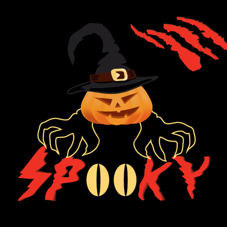 Halloween spooky vector poster, banner or flyer halloween template, spooky pumpkin and monster's paw with claws