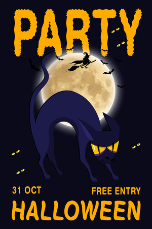 Halloween vector poster, banner or flyer halloween template, spooky cat and objects. Halloween party