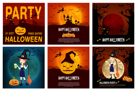 Set Halloween vector poster, banner or flyer halloween templates featuring halloween themed items, characters and objects. Vector Illustration
